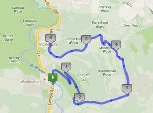 Box Hill 10K Walk Route